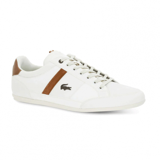 51fa3bfc34 Chaussures Sneakers Lacoste PU Chaymon Blanc White Marron Homme