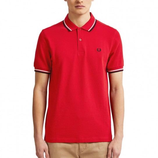 Polo Fred Perry Twin Tipped M3600 Rouge Liseré