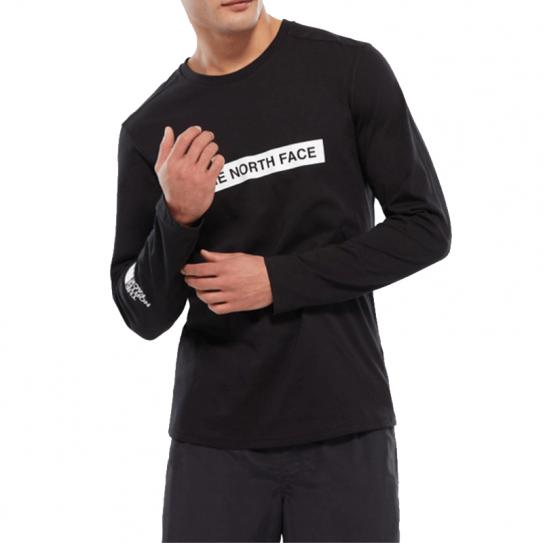 b71c5d60a02a9 T Shirt The North Face Manches Longues Light Logo Imprimé Noir Homme
