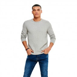 Pull en maille Only & Sons Alex Cable Light Grey