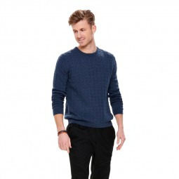 Pull en maille Only & Sons Alex Cable Dress Blue