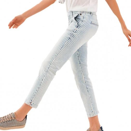 Pantalon Salsa chino Colette à rayures