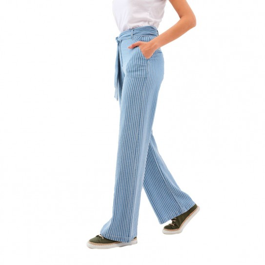 Pantalon Salsa large denim à rayures