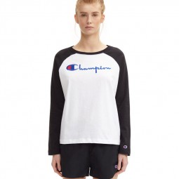 T-shirt champion court à manches longues noir et blanc