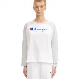 T-shirt champion court à manches raglan gris et blanc