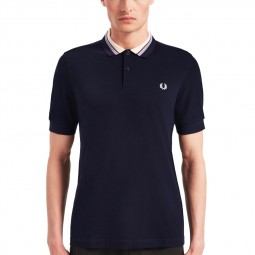 Polo Fred Perry M6504 bleu marine à rayures larges au col