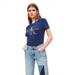 T-Shirt Calvin Klein logo métallisé bleu