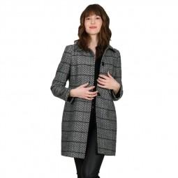 Manteau droit à chevrons Molly Bracken noir et beige