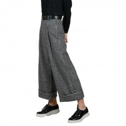 Pantalon large pied de poule Lili Sidonio noir et blanc