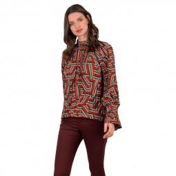 Chemisier blouse imprimée Molly Bracken rouge