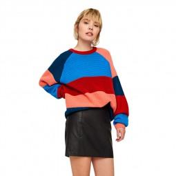 Pull tricot Noisy May coloré bleu orange rouge