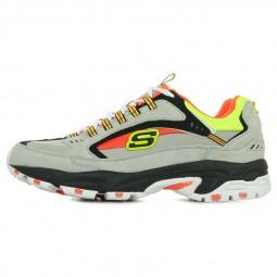 Chaussures Skechers Homme Stamina gris jaune orange