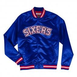 Blouson Satin Mitchel & Ness 76ers bleu