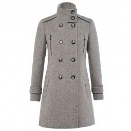 Manteau étoffe de laine à boutons Salsa gris