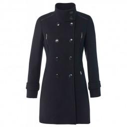 Manteau étoffe de laine à boutons Salsa bleu marine