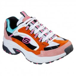 Chaussures Skechers femme Stamina blanc rose