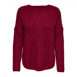Pull en maille Only Bernice Pullover bordeaux