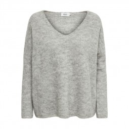 Pull en maille Only Hanna V neck gris chiné