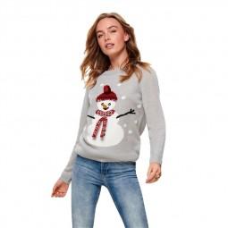 Pull en maille de noël Only Snow Pullover gris bonhomme de neige