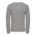 Pull à rayures en maille Only & Sons Sato 5 blanc rayé marine