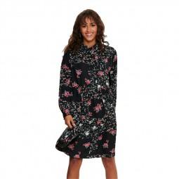 Robe Only noire à fleurs