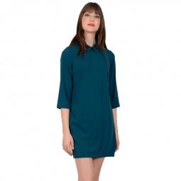 Robe courte Molly Bracken col à strass vert canard