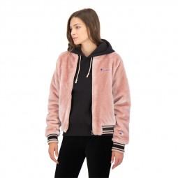 Blouson bomber Champion femme fourrure synthétique rose