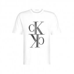 T-shirt Calvin Klein monogramme blanc