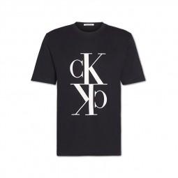 T-shirt Calvin Klein monogramme noir