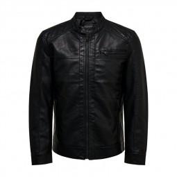 Blouson Only & Sons simili cuir noir