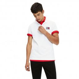 Polo Tommy Jeans badge blanc
