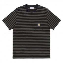 T-shirt à rayures Carhartt Haldon rayé noir kaki