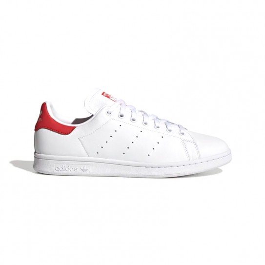 Adidas Stan Smith blanches languette rouge