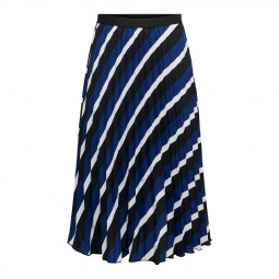 Jupe plissée à rayures Only bleu, noir, blanc