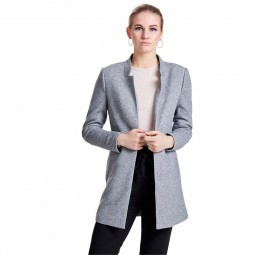 Manteau coatigan Only Soho gris chiné clair