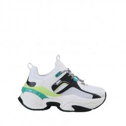 Basket plateforme Buffalo Crevis P1 blanc, vert, jaune