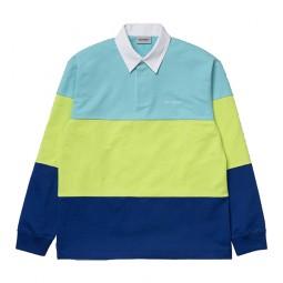 Polo manches longues Carhartt bleu ciel, jaune, bleu