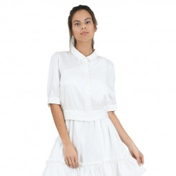 Chemisier court satiné Molly Bracken blanc