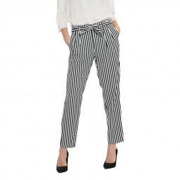 Pantalon Layla Wiper Only à rayures bleu marine blanc