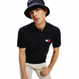 Polo Tommy Jeans badge noir