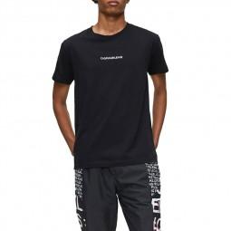 T-shirt Calvin Klein noir logo brodé blanc