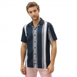 Chemise manches courtes Dickies Forest Park rayures bleu marine rose