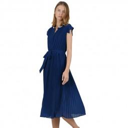 Robe longue plissée Molly Bracken bleu marine