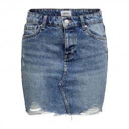 Jupe courte en jean Only bleu clair délavé