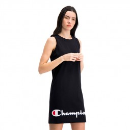 Robe Champion midi bords côtelés noir