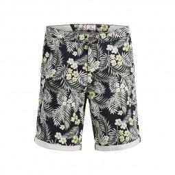 Short chino Jack & Jones bleu marine imprimé tropical