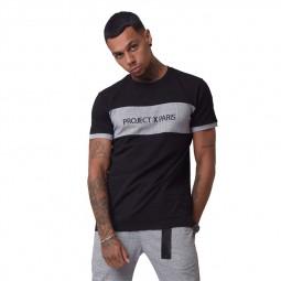 T-shirt Project X Paris noir empiècement carreaux