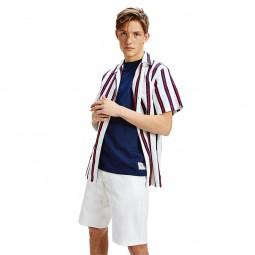 Chemisette Tommy Jeans à rayures blanc, rouge, bleu