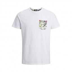 T-shirt Jack & Jones Lee Tee blanc poche à fleurs