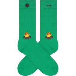 Chaussettes A-dam Socks - Wes vertes feu de camp
